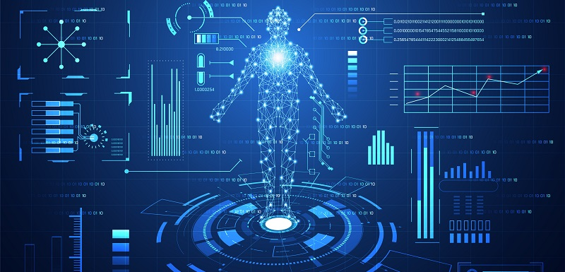 abstract technology ui futuristic  concept hud interface hologram elements of digital data chart, communication, computing,human body digital health care ; health future design on hi tech background.